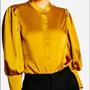 Shein Gold Long Sleeve Button Up Blouse-Small